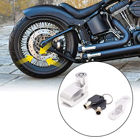 uxcell Blue Aluminum Alloy Round Head Anti-theft Motorcycle Disc Lock with 2 Keys