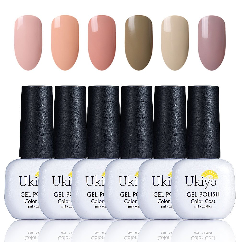 Ukiyo Esmalte Semipermanente Esmalte de Uñas de Gel Color Nude UV LED 6pcs Kit de Manicura Soak Off 8ml