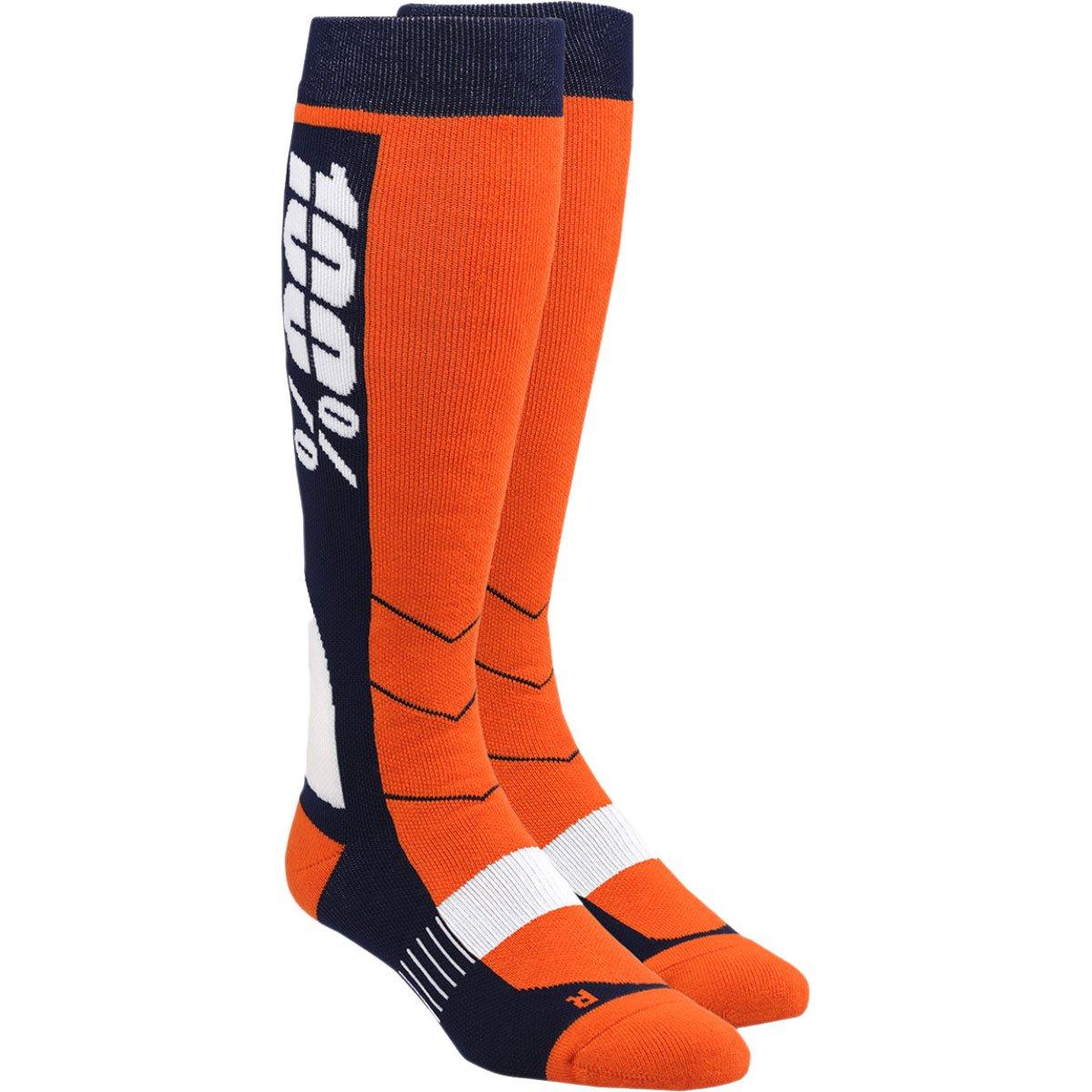 100% Unisex-Adult Hi Side 8'' Mid-Calf Riding Socks (Orange,Small/Medium)