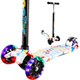 Vamslove Kick Scooter Kids Toys Boys Girls, 3 Flashing Wheels Adjustable Height Non-Slip Handle Widening Deck Kids Scooter-Birthday Toys Ages 3 4 5 6 7 8 + Years Old (Rainbow)