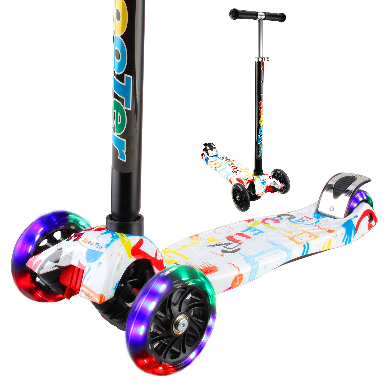Vamslove Kick Scooter Kids Toys for Boys Girls, 3 Flashing Wheels Adjustable Height Non-slip Handle Widening Deck Kids Scooter-Birthday Toys for Ages 3 4 5 6 7 8 + Years Old (Rainbow)