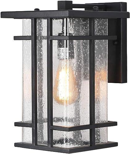Rustic Outdoor Wall Light Fixture 13.80″H Waterproof Exterior Wall Sconces Black Metal
