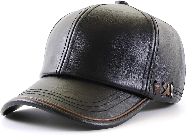 Ueither Gorra de Béisbol para Hombre Ajustable Sombrero de Cuero Suave de PU Sombrero Deportivo
