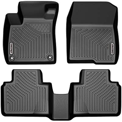 oEdRo Floor Mats Compatible with 2020-2020 Honda Accord, Black TPE Front & 2nd Row All Weather Liner Set - Custom Fit: Automotive