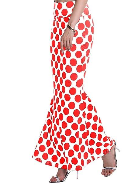 87297ffb22 AMORETU Mujeres Maxi Falda De Playa Larga Faldas Largas Elegantes Cintura  Alta Patrón de Lunares Rojo L  Amazon.es  Ropa y accesorios