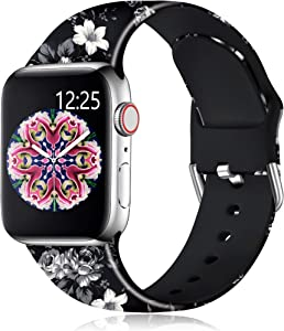 Muranne Band Compatible with Apple Watch SE 40mm 38mm for Women Girls Fancy Cute Fadeless Floral Print Replacement Wristbands Bands for iWatch Series 6 5 4 3 2 1, Black Flower, M/L