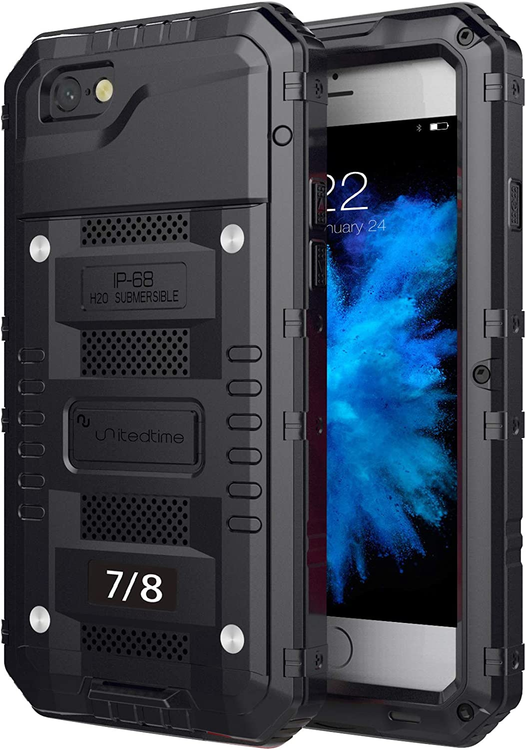 """Waterproof Heavy Duty Protective Case for iPhone 7 /iPhone 8 /SE 2020, 4.7"""" Inch with Aluminum Frame Body Rugged Hard Silicone, Military Grade with Built-in Screen Protector Drop Defend (Black)"""