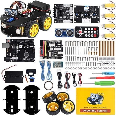 ELEGOO UNO R3 Kit de Coche Robot Inteligente V3.0 Plus Compatible con Arduino IDE con Módulo de Seguimiento de Línea, Sensor Ultrasónico, Módulo IR, Kit Robótico Coche Educativo STEM para Niño, Adulto: