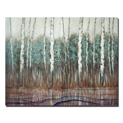 51314e22d9c Large Size Autumn Forest Canvas Wall Art Prints White Birch Tree Forest  Painting Printed on Canvas