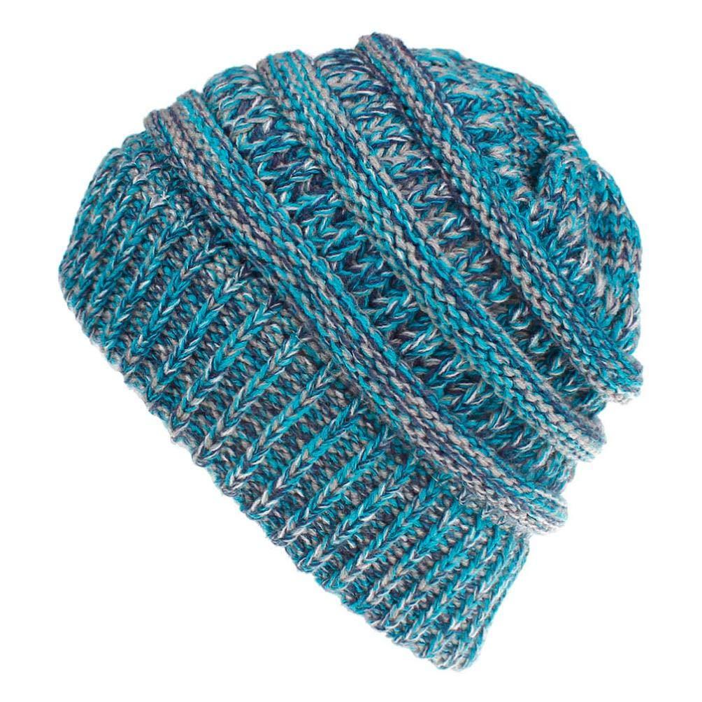 URIBAKE Mom& Me Women Ladies Color Mixture Knited Woolen Headgear Beanie Tail Hat Cap