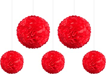 EinsSein 5er Mix Pom Poms 3X Medium (25cm) 2X Large (35cm) rot Hochzeit Wedding Pompons Dekokugel