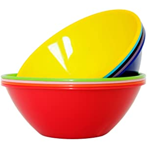 Youngever 10 inch 120 Ounce Plastic Mixing and Serving Bowls, Popcorn Bowls, Salad Bowls, Chip and Dip Serving Bowls, 9 Pack in 9 Assorted Colors