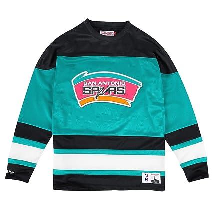 d538f7cd9ddb5 San Antonio Spurs Mitchell   Ness NBA Mesh Jersey Long Sleeve Crew Shirt