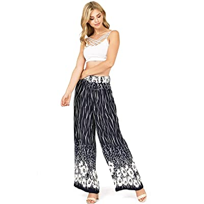 A Calin by Flying Tomato Women's High Waisted Flowy Floral Palazzo Pants at Women's Clothing store