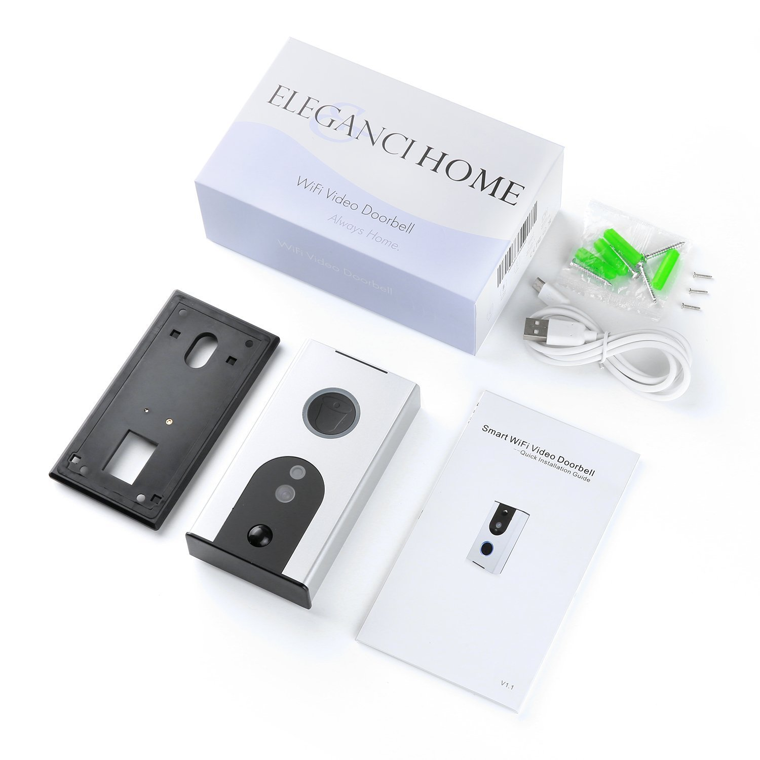 Battery Powered Wi-Fi Video Doorbell Camera, Wireless Doorbell Camera with Built in 8G card, Motion Detection, Night Vision, with Two Way Audio works with Iphone and Android by Eleganci Home by Eleganci Home (Image #3)