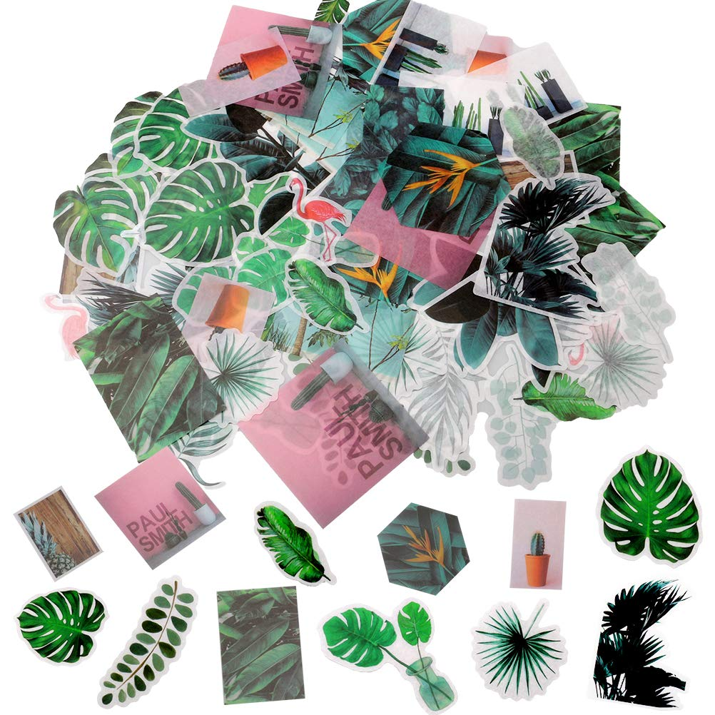 nuoshen 60 Pcs Tropical Plants Stickers, Self-Adhesive Ephemera Pack for Wall Window Scrapbook Letters Notebook Card Making DIY (Plants Stickers)