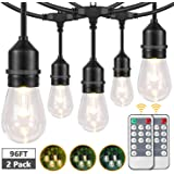 2-Pack 3 Color Dimmable LED Outdoor String Lights for Patio with Remotes, 48FT Waterproof Hanging Lights String with Shatterp