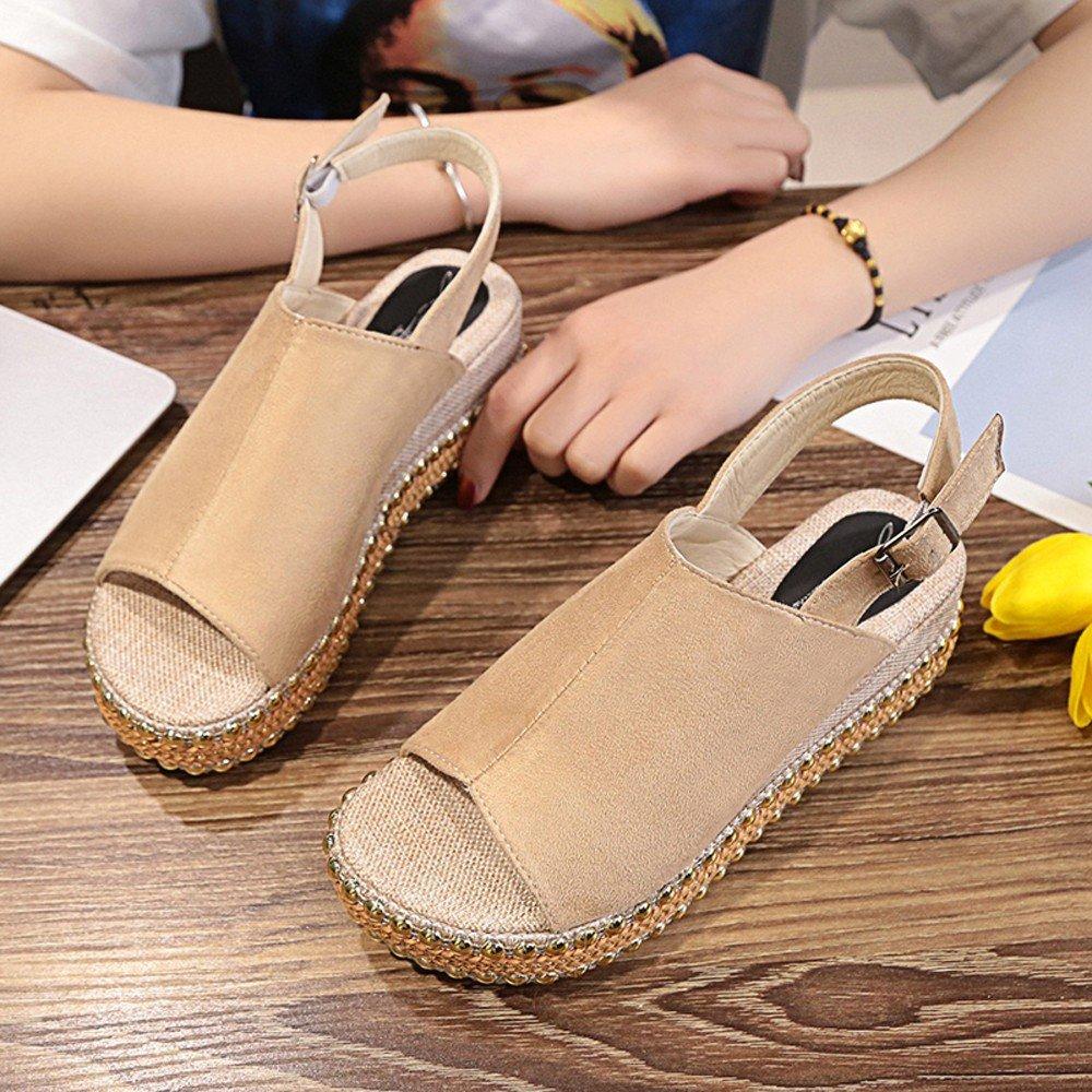 Clearance Sale Sandals For Women,Farjing Fashion Women Rivets Peep Toe Wedges Thick Bottom Buckle Strap Shoes Sandals(US:5.5,Khaki)