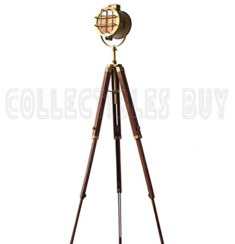Antique Nautical Floor Lamp Vintage Adjustable Tripod Royal Spot Lamp Reproduction Lamps