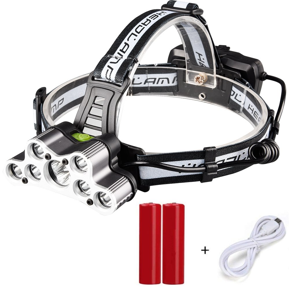 Rechargeable LED headlamp,Brightest and Best 9 LED Headlamp 45000 Lumen Zoomable Waterproof CREE Headlamps Waterproof Hard Hat Light, Bright Head Lights, Running or Camping headlamps …