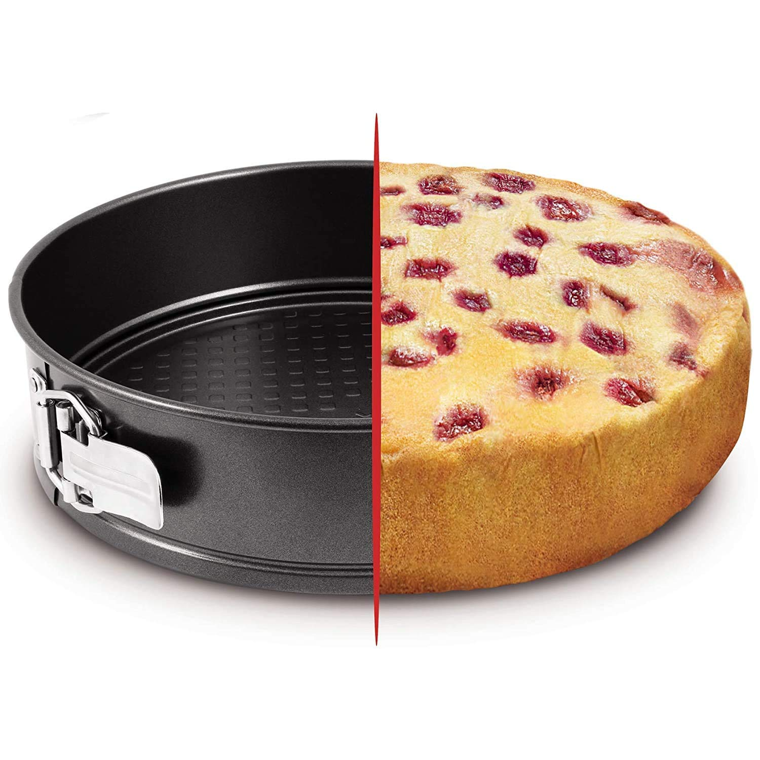 CROWEX Teflon Round Cheese Cake Mould, Cooker with Removable Base, Non-Stick Cake Tins/Pan/Trays for Microwave, Oven and Bakeware, Black (19 cm)