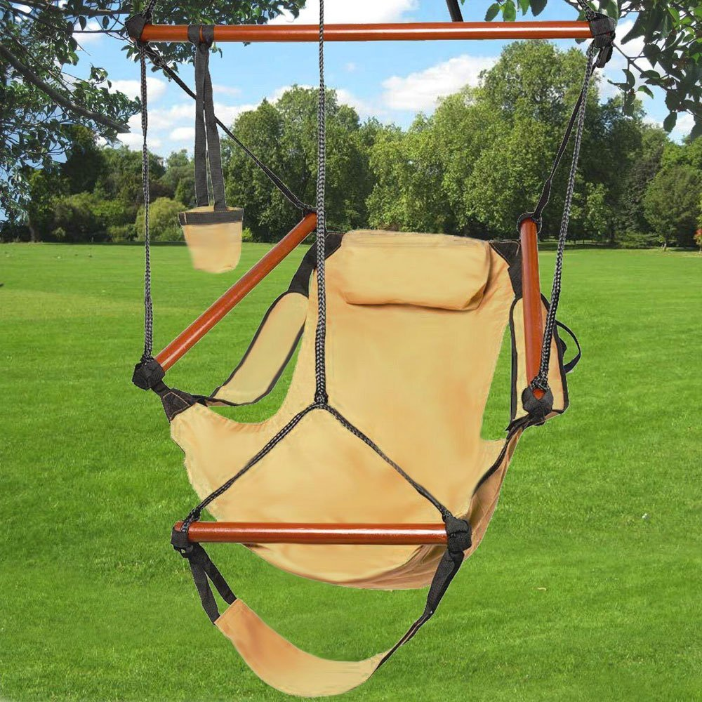 Z ZTDM Hammock Hanging Chair, Air Deluxe Sky Swing Seat with Pillow and Drink Holder Solid Wood Indoor/Outdoor Garden Patio Yard 250lbs (Tan) by Z ZTDM (Image #2)