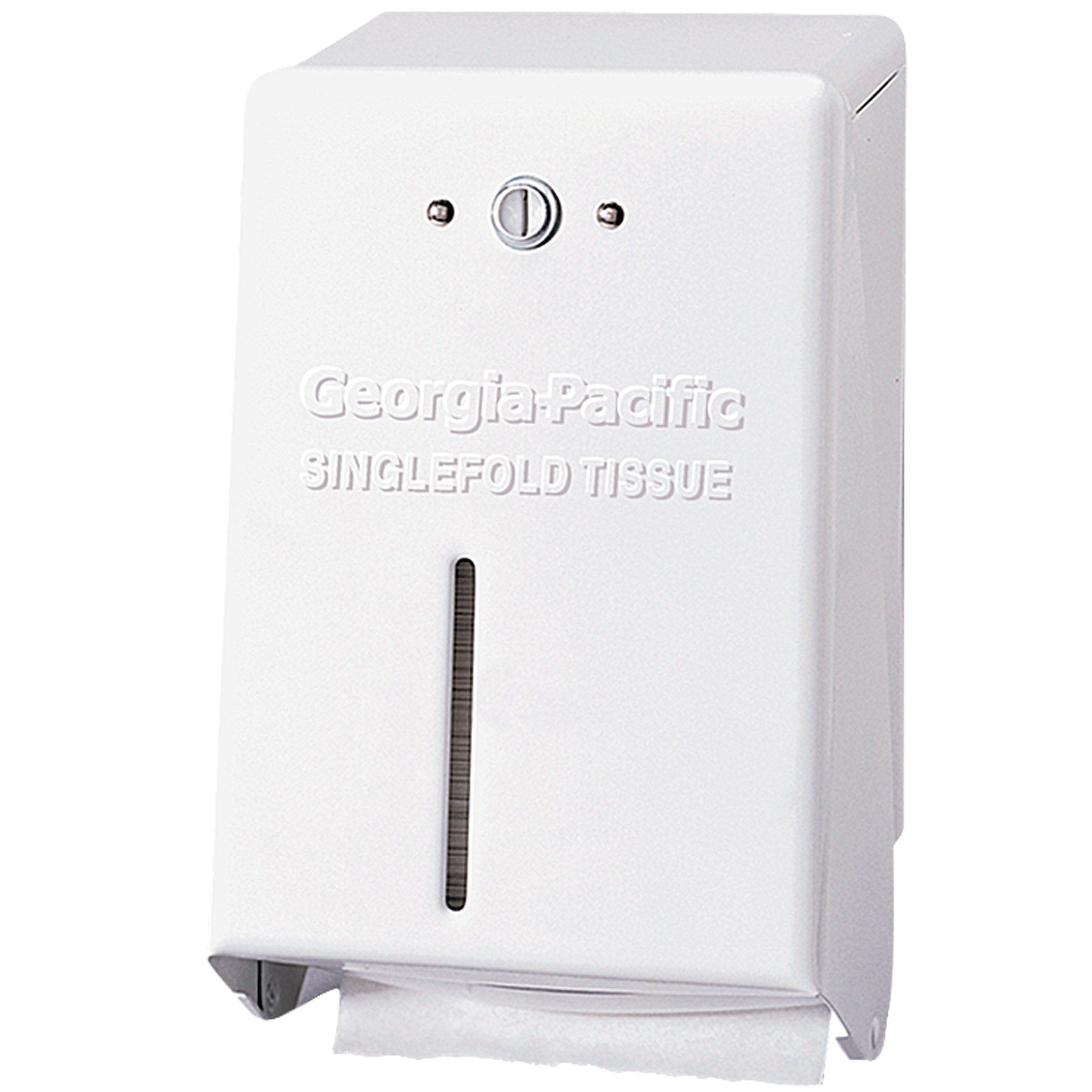 Georgia-Pacific 58701 White Singlefold Interfolded Tissue Dispenser (WxDxH) 5.000'' x 3.125'' x 8.250''