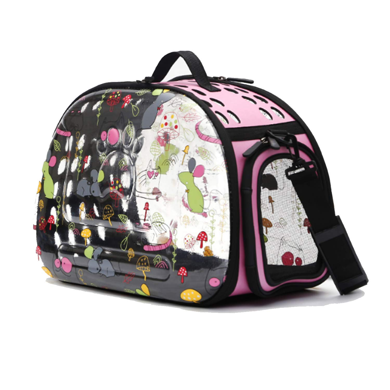 JYMDH Pet Carrier Dog Cat Puppy Rabbit Lightweight Soft Sided Folding Waterproof Transparent Pet Travel Bags Backpack,Pink