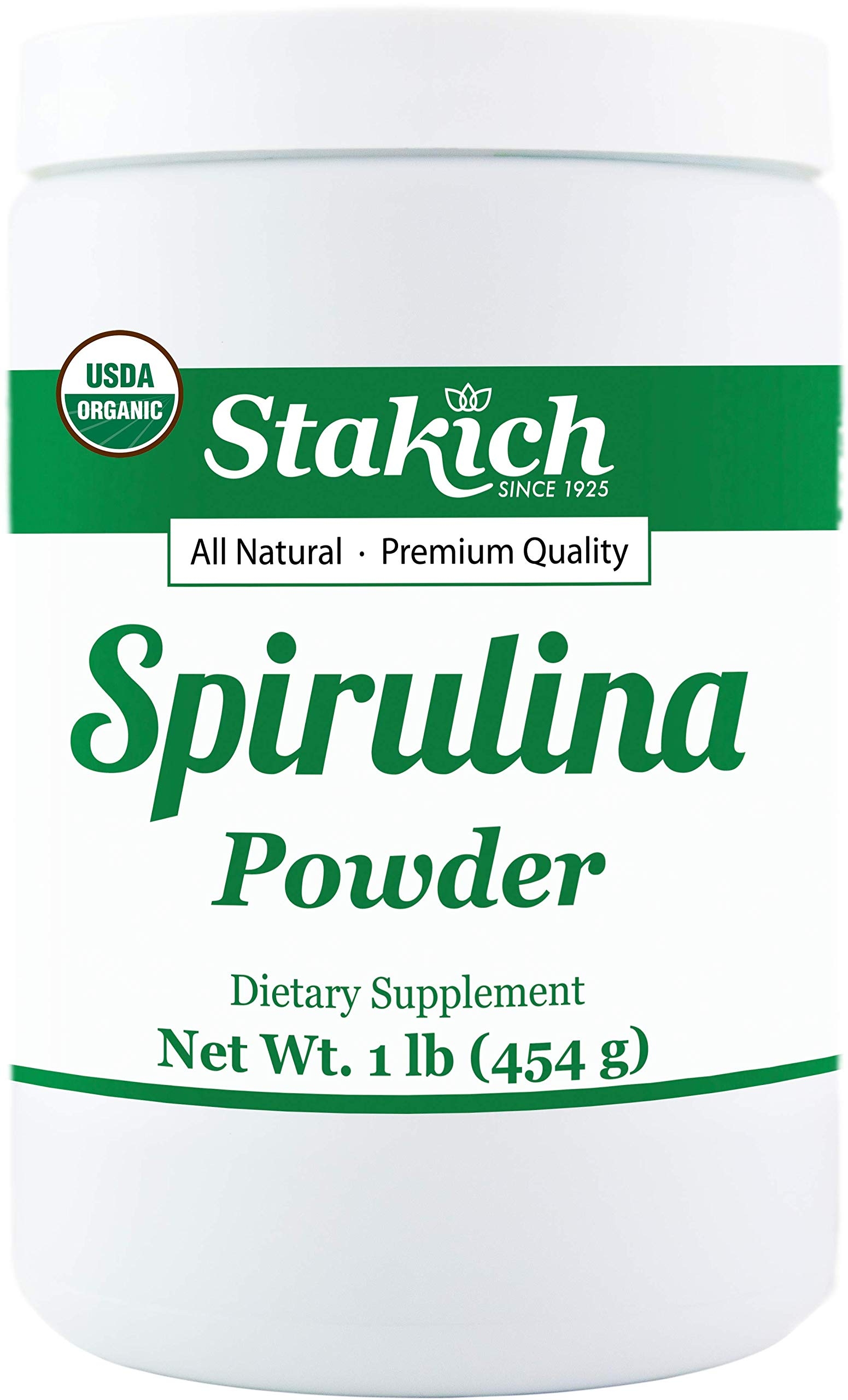 Stakich SPIRULINA POWDER 1 LB (16 oz) - USDA Organic, 100% Pure, All Natural, Top Quality