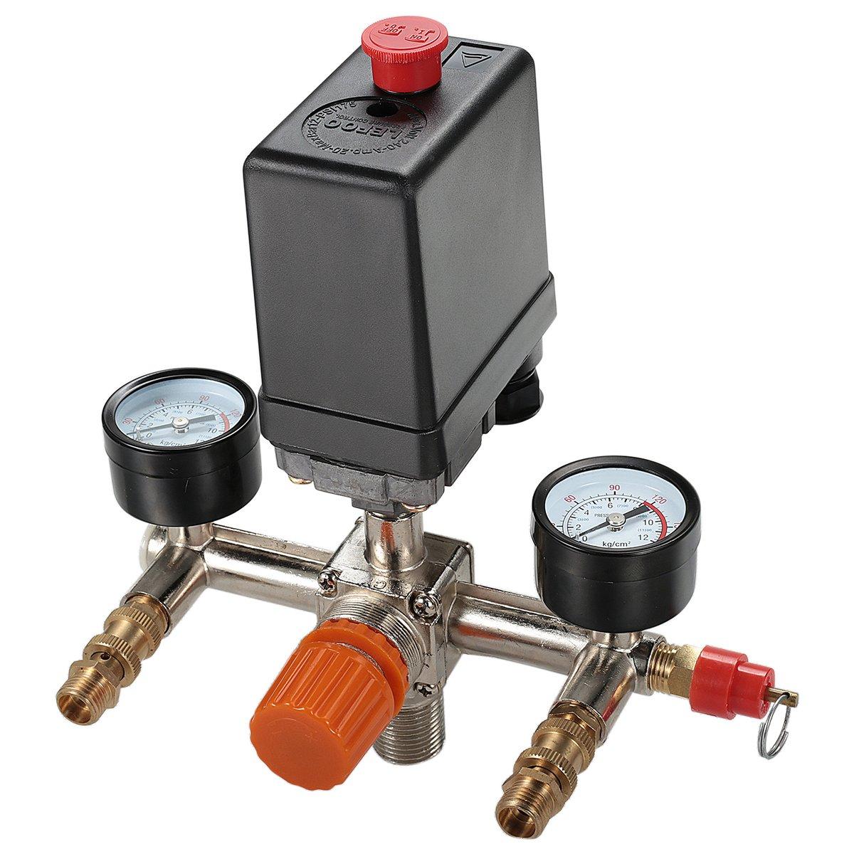 Secbolt Pressure Switch Manifold Regulator Gauges Air Compressor Pressure Switch Control Valve 90-120PSI (Vertical Switch) - - Amazon.com