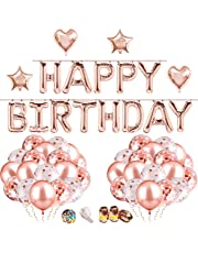68Pcs Birthday Party Decorations including 13 Letter Foil HAPPY BIRTHDAY Balloons Banners 15 Pieces Pre-Filled Confetti Balloons and 36 Pieces Latex Rose Gold Balloon