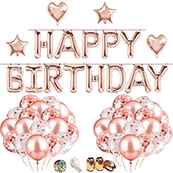 Cumpleaños Globo Oro Rosa Guirnalda de Globos HAPPY BIRTHDAY ...