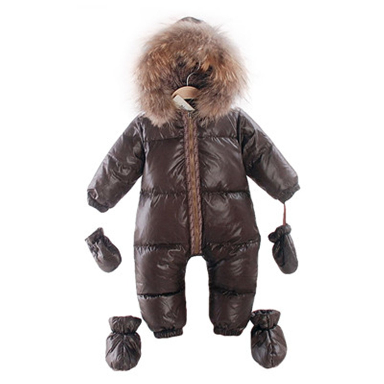 02d3ca67f Amazon.com  Meetloveyou New Russian Winter Natural Fur Rompers Baby ...