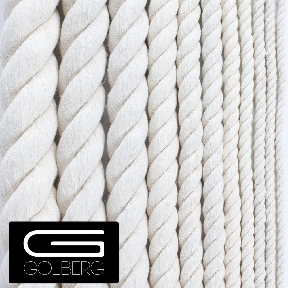 White Cotton Rope 1//4 Inch x 50 Feet GOLBERG Twisted 100/% Natural Cotton Rope