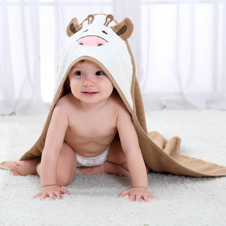 Lanhiem Asciugamano con Cappuccio / Telo da spiaggia per Bambini - 100% in Cotone Asciugamano da Bagno- Perfetto per la Doccia dei Bambini - Extra grande 80 x 80 cm, Marrone