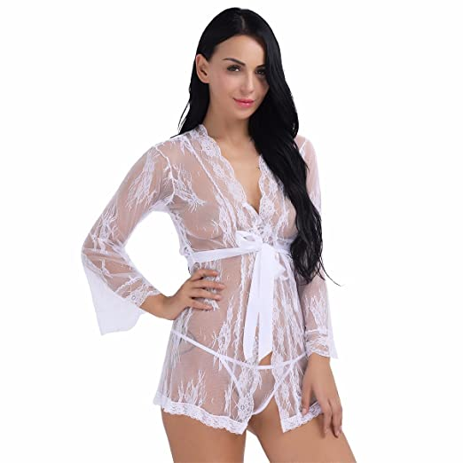 791bbb543 YiZYiF Sexy Women s Lace See Through Nightgown Mesh Lingerie Set White  Large at Amazon Women s Clothing store