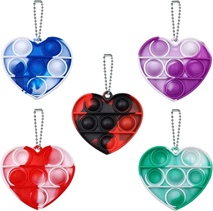 Heart 5 Pcs Simple Fidget Toy Pop Fidget Toy Mini Stress Relief Hand Toys Keychain Toy Push Pop Bubble Wrap Pop Anxiety Stress Reliever Office Desk Toy for Kids Adults