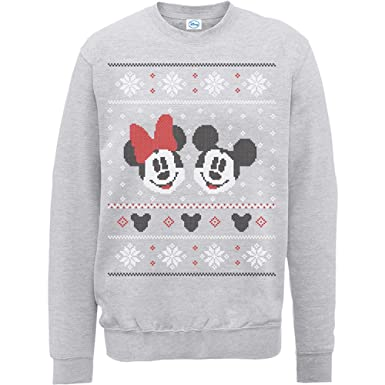 Brands In Limited Mickey Mouse Christmas Mickey & Minnie-Sudadera Mujer: Amazon.es: Ropa y accesorios