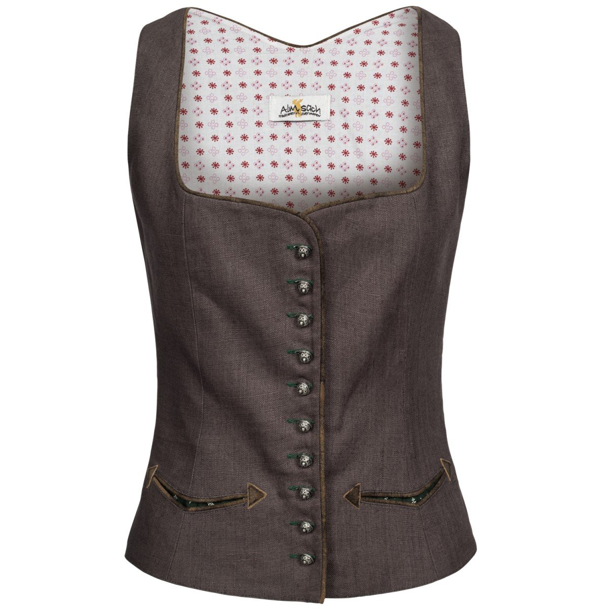 Almsach Damen Trachten-Mode Trachtenmieder Babett in Grau Traditionell Größe:32 Farbe:Grau 2057-2002-379