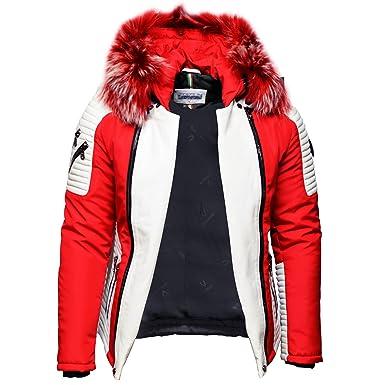 Ventiuno Mazerati - Maserati - Mazeratti Veste Doudoune Bi-matière Rouge  Blanche Fourrure véritable Rouge ef2ad25ab31