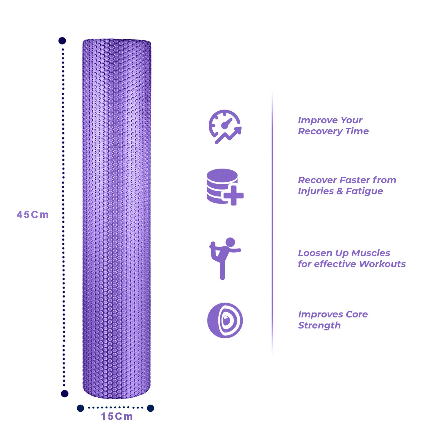 spinway Yoga Foam Roller Speckled Foam Rollers for Muscles Extra Firm High Density for Physical Therapy Exercise Deep Tissue Muscle Massage (Puple)