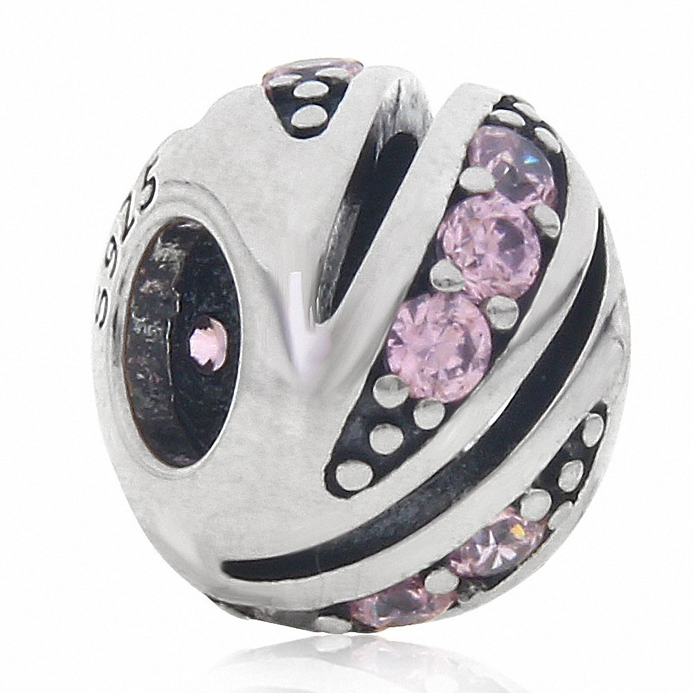 Pink Crystal Stone Charm 925 Sterling Silver Genuine Shiny Lucky Gift Party Beads for European 3mm Bracelet Pink