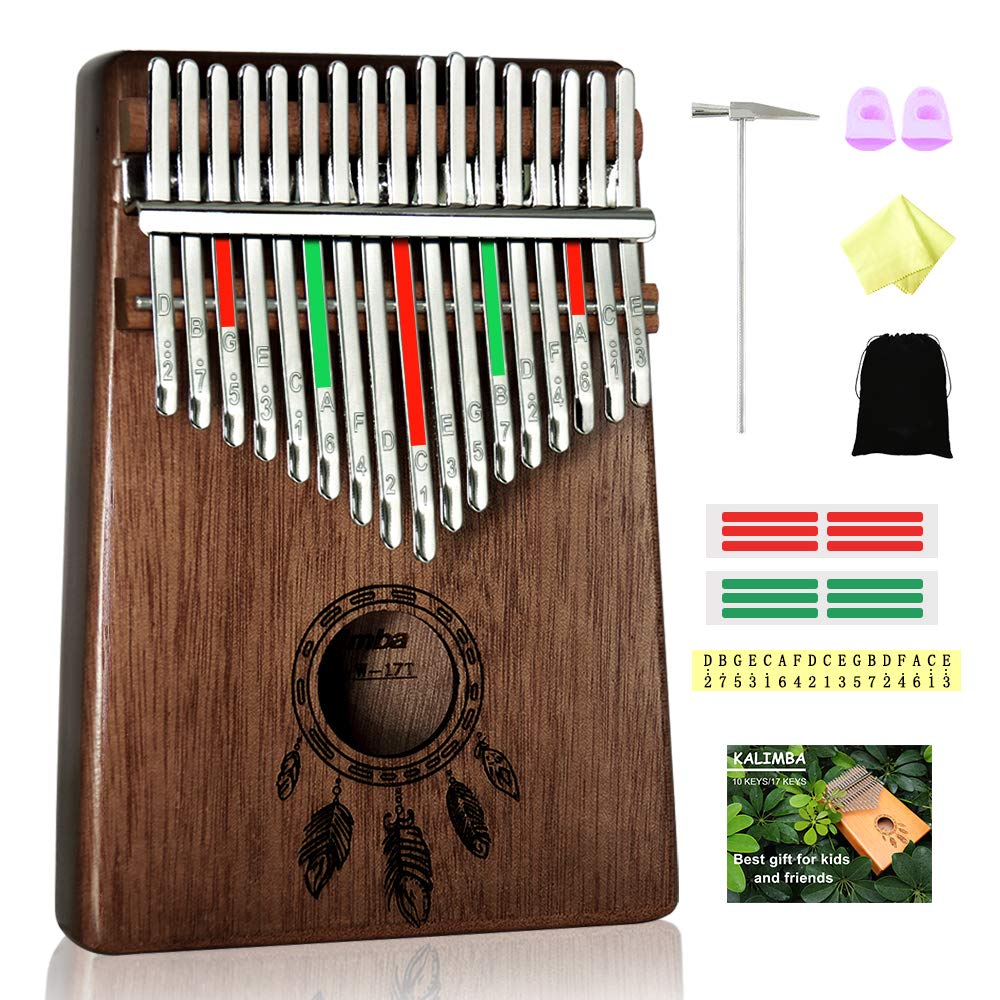 Kalimba 17 Keys Thumb Piano, Solid Wood Finger Piano with Portable Bag and Study Instruction, African Musical Instruments Mbira Carved with Feathers, Best Gift for Beginners Kids Adult(Dark Brown)