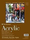"""Strathmore Serie 400 - Bloc de Papel acrílico, Acabado de Lino, Pegamento, 10 Hojas, Hojas Sueltas, Blanco, 9 by 12"""""""