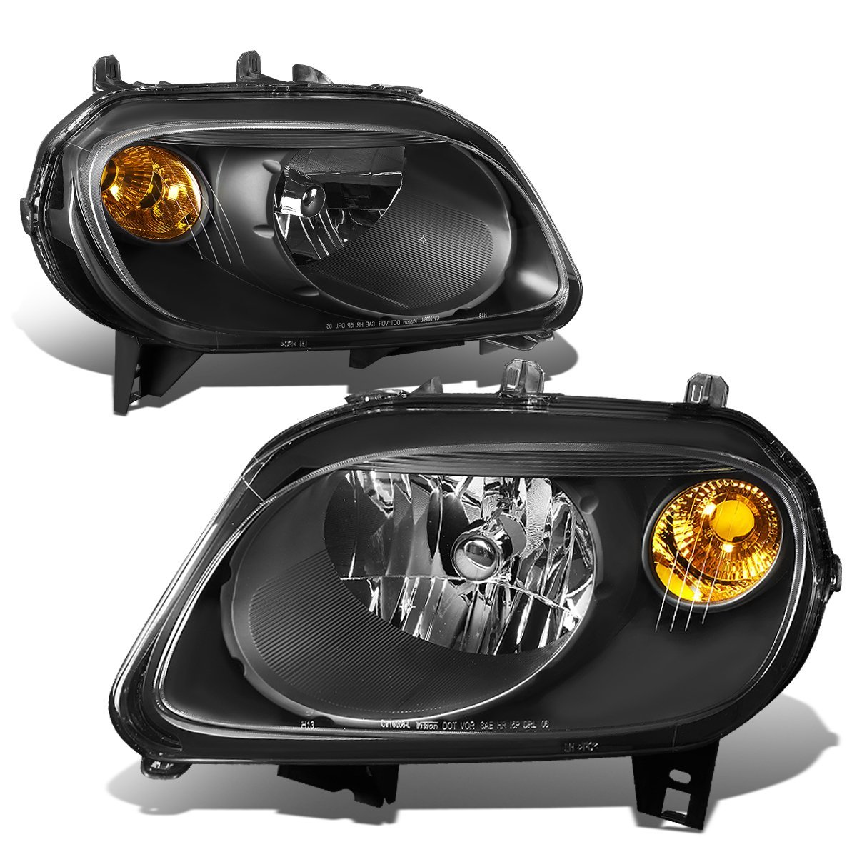DNA MOTORING HL-OH-007-BK-AM Headlight Assembly, Driver and Passenger Side