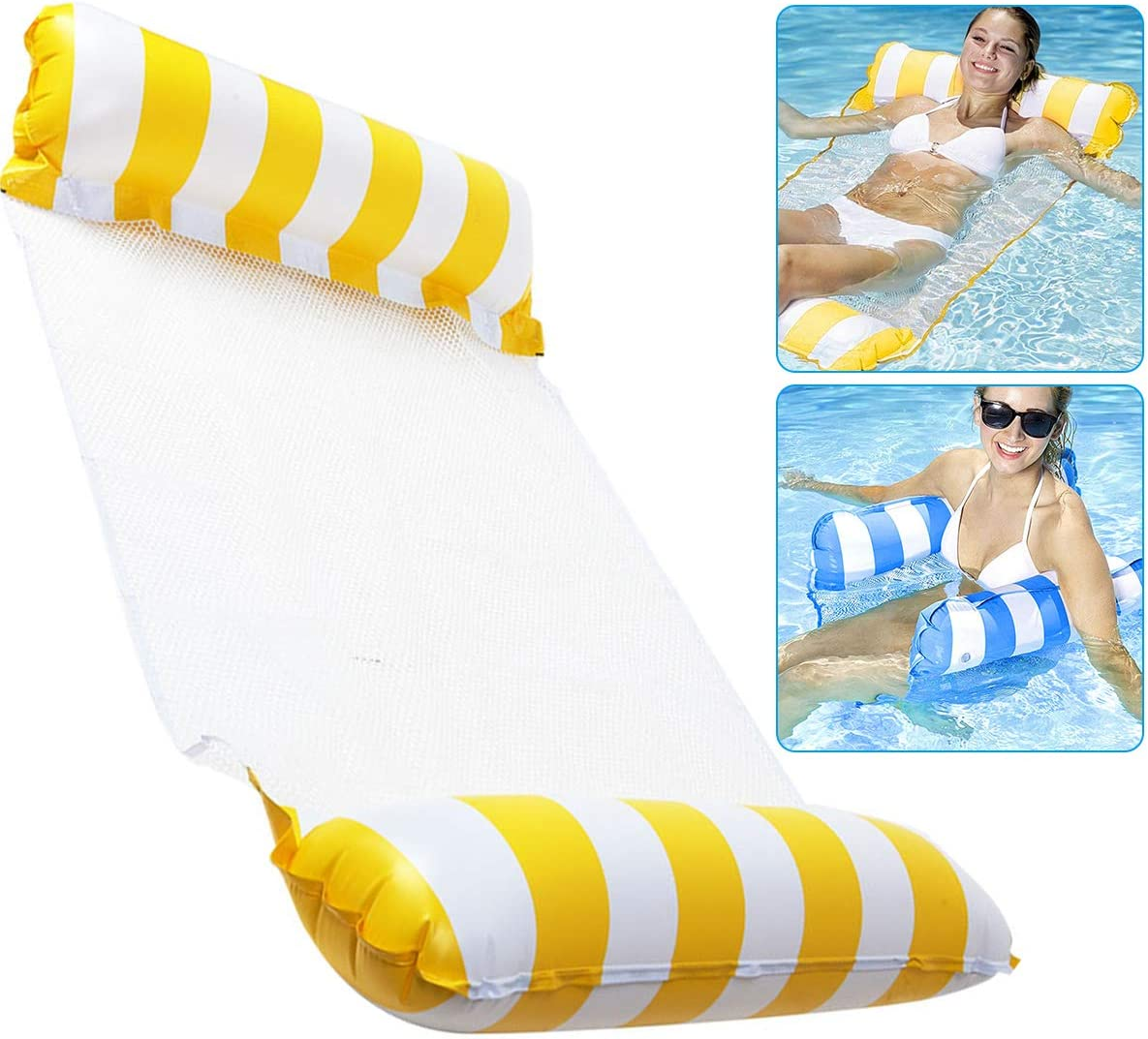 4-in-1Portable Multi-Purpose Pool Hammock Pool Chair Lightweight Floating Compact Swimming Pool Mat for Adults And Kids OFOCASE Hammock Inflatable Pool Float,Inflatable Hammock