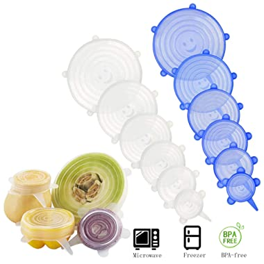 Silicone Stretch Lids - MMTX 12Pcs Reusable Food Storage Lids Durable Silicone Bowl Covers Elastic Food Covers with Various Sizes, Keep Food Fresh