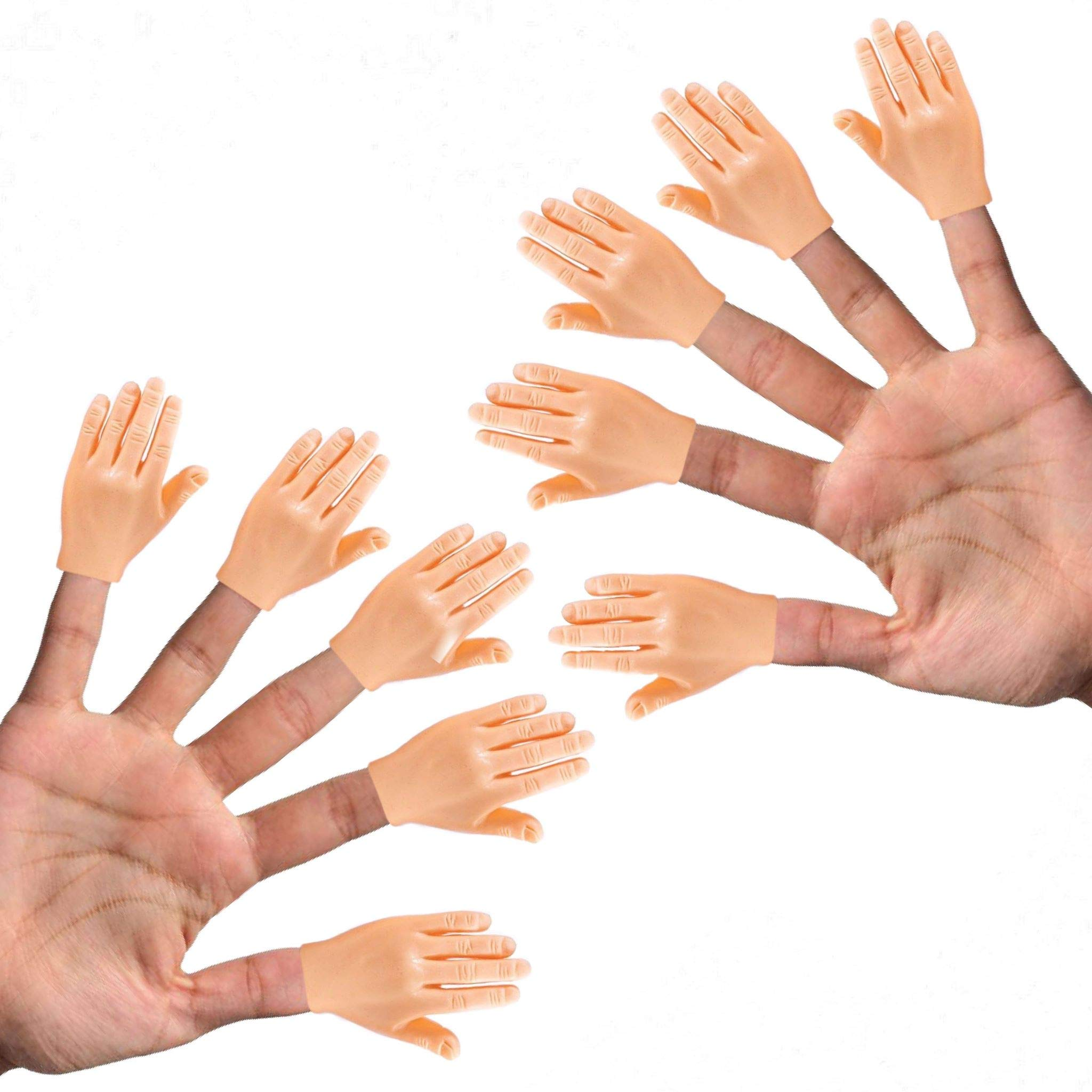 Daily Portable Tiny Hands (High Five) 10 Pack- Flat Hand Style Mini Hand Puppet - 5 Left & 5 Right Hands