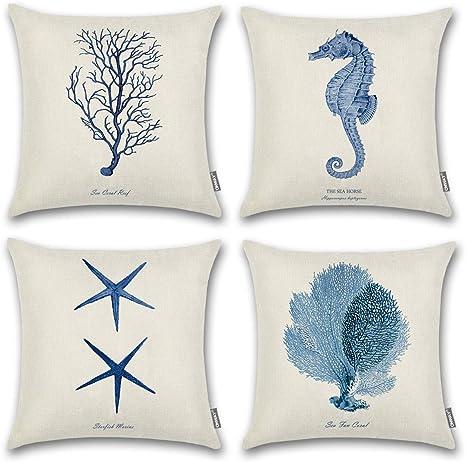Vintage Love Heart Whale Cotton Linen Throw Pillow Cushion Cover Home Decor Z678