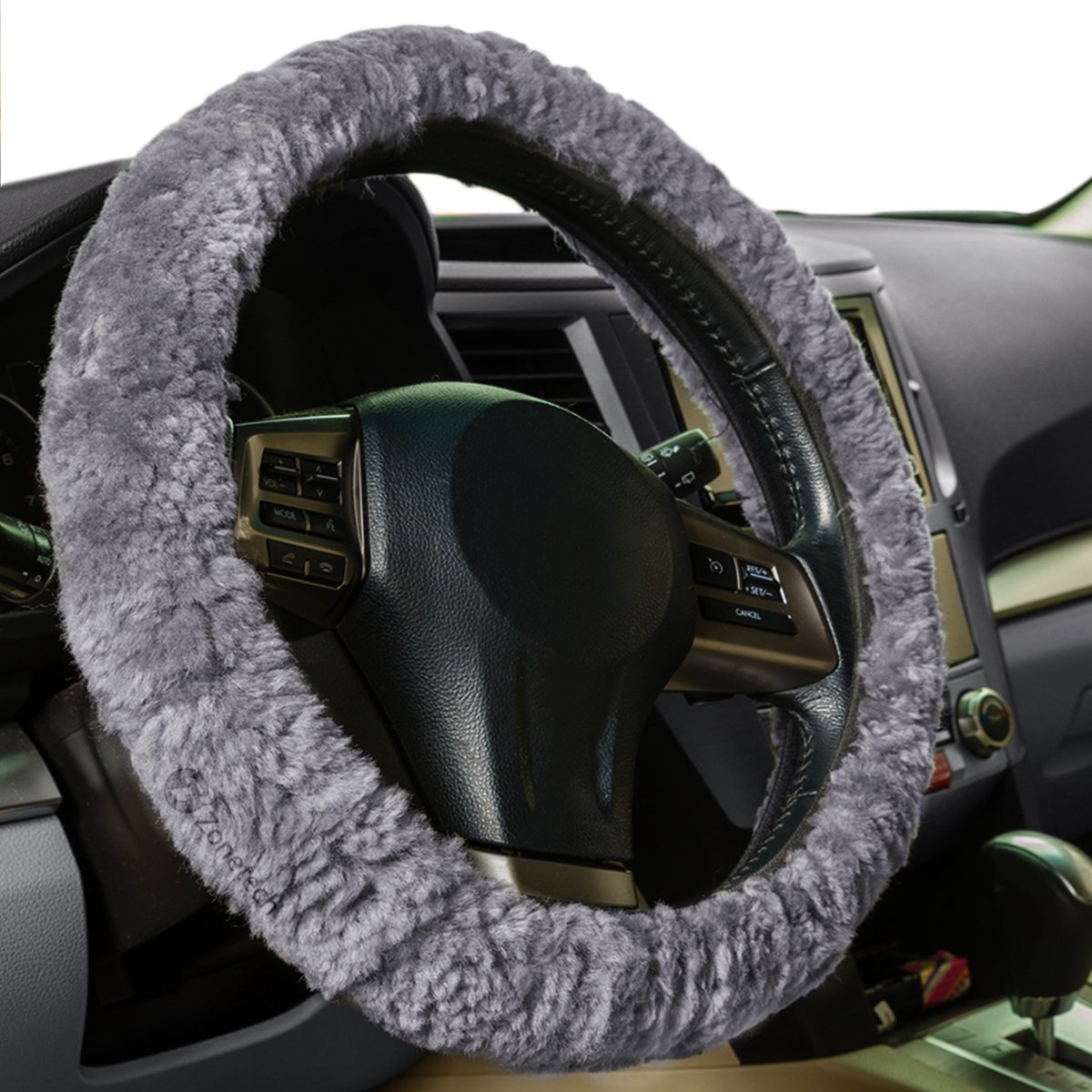 Zone Tech Plush Genuine Sheepskin Stretch- On Vehicle Steering Wheel Cover Gray Car Wheel Protector WC0016